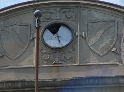 Broken Glass on Clock in front of school - Back to the Future